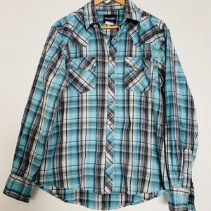 [Wrangler] Men's Blue Plaid Pearl Snap Button Up